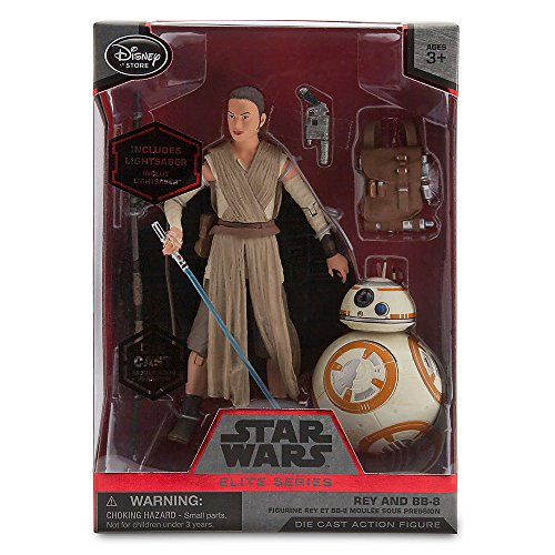 Disney Star Wars 6'' Elite Series Die-Cast Figure Rey with Lightsaber and BB-8 (Episode VII: A Force Awakens) by