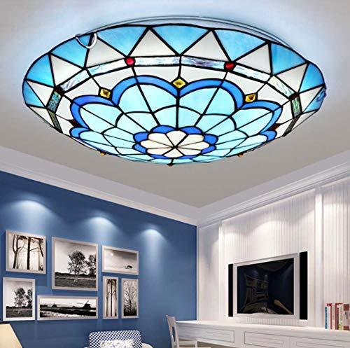 Yjmgrowing LED-Deckenleuchte für Eingang,Tiffany-Stil Glasmalerei Unterputz Deckenleuchten Mediterrane Gangbeleuchtung,LED-Chip, dreifarbiges Licht,40cm