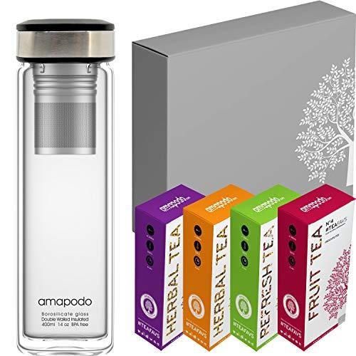 amapodo Tee Geschenk für Frauen & Männer Geschenkbox Geschenkset Angebot die nachhaltige Geschenkidee 2x Früchtetee 2x Kräutertee 1x Teeflasche