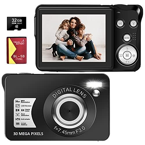 Digital Camera, 30MP 1080P Portable Point and Shoot Camera with SD Card, 2.7' TFT Screen Blogging Camera 8X Digital Zoom Slim Pocket Camera