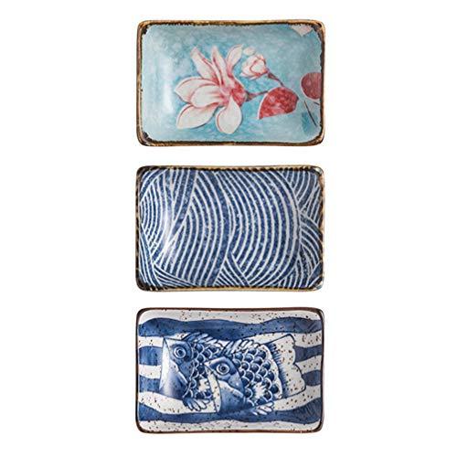 Bestonzon, 3 ciotole in ceramica per salse, in stile giapponese, per antipasti, sushi, salsa di soia, stile casuale