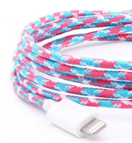 Voyage Lightning Cable (1.5 Meters | 5Feet) - Apple MFI Certified for All iOS Devices - iPhone X/Xs / Xs Max/Xr / iPhone 8 / iPhone 8 Plus/iPhone 7/7 Plus / 6/6 Plus / 5S (Pink, Blue, White)