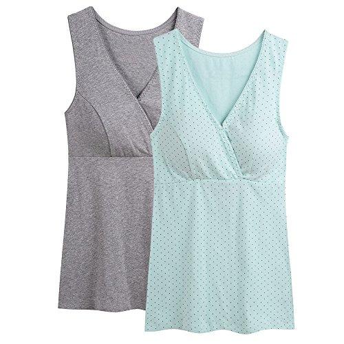 ZUMIY Nursing Top, Damen Still-Shirt Stillen Kleidung Schwangerschaft Still-top (S, Grey+Green dot/ 2Pack)