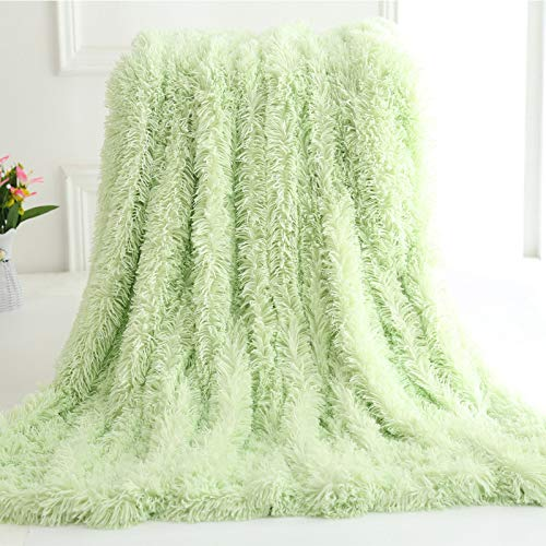 YYEWA Shaggy Long Fur Weighted Blanket, Cozy and Fluffy Plush Sherpa Long Hair Blanket for Adult, for Bed, Couch, Chairs,Green,160X200cm