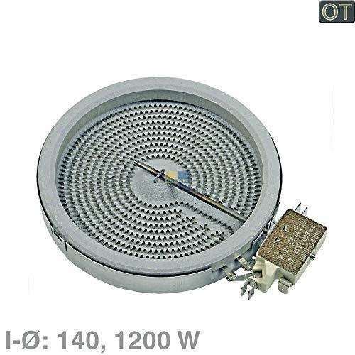 Bosch Siemens stralingsradiator, winkelwagenradiator Hilight, kookplaat 1200 watt, Ø 140 mm voor keramische kookplaten - nr.: 00436605, 436605, 10.54113.134, 1054113134