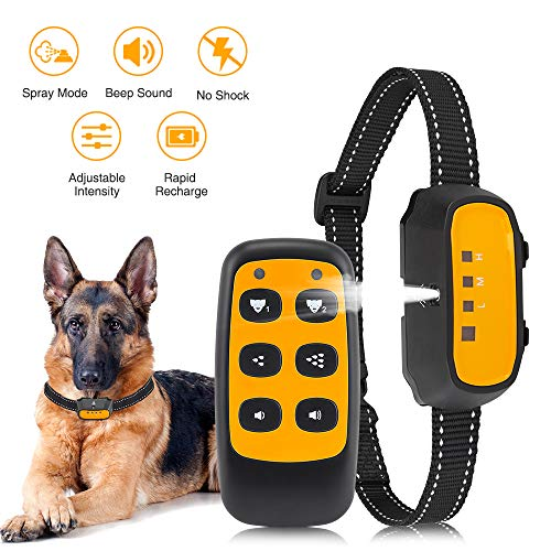 Queenmew Dog Training Collar, Beep & Spray Modes Bark Collar Trainer Dogs Harmless, Advanced 2 in 1 Anti Barking Dog Collars with Remote Control Device - Dog Barking (Dog Bark Collar with Remote)