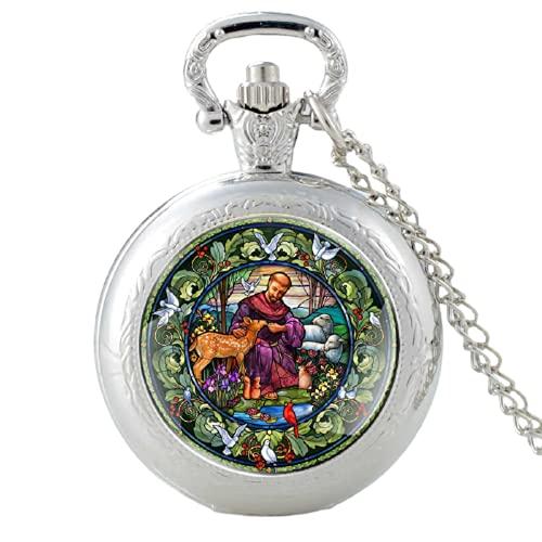 San Francisco y Dios Creación Diseño Plata Vintage Cuarzo Reloj de Bolsillo Reloj Colgante Reloj de Pulsera Hombre Mujer Collar Regalos