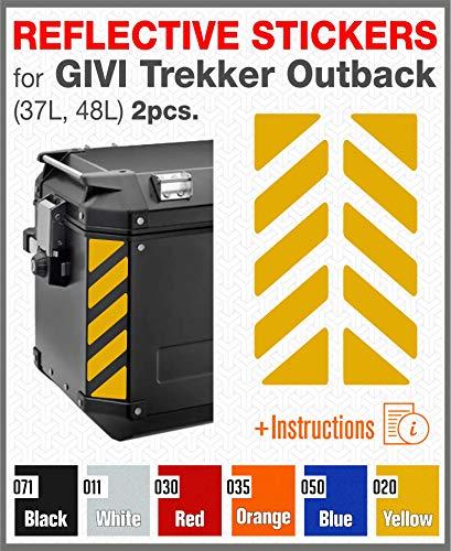 2pcs Adhesivos Reflectantes para GIVI Trekker Outback 37L 48L (Yellow)