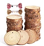 Natural Wood Slices 30 Pcs 2.4-2.8 Inch Unfinished Wood Craft Kit Predrilled with Hole Wooden Circles Tree Slices for Arts and Crafts, Christmas Ornaments DIY Crafts