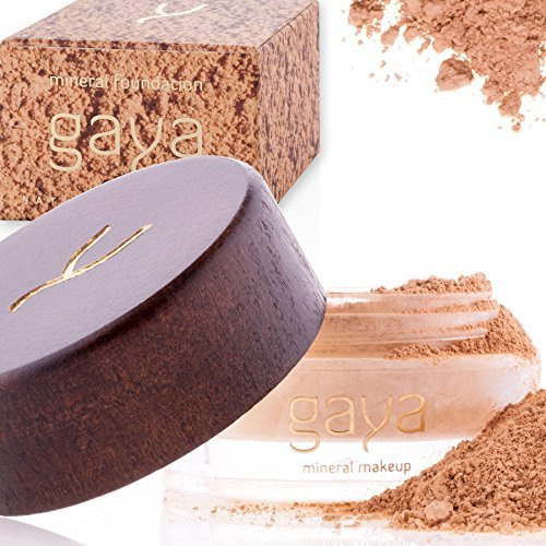 Gaya Cosmetics Foundation Make Up Puder – Vegan Mineral Professionelle Natürliche Full Coverage Foundation Makeup Powder (Schattierung MF4)