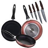 Renberg PK1927 3 sartenes 16/20/24 cms, más Juego de 4 Cuchillos de Cocina, Aluminio prensado/Acero Inoxidable