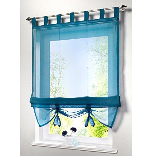 KOU-DECO Raffrollo Schlaufen Gardinen Voile Transparent Vorhänge 1er-Pack Vorhang (B*H 100*155cm, Aqua)