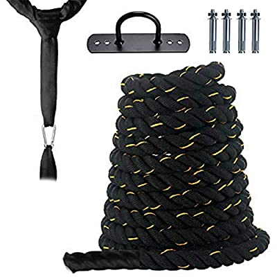 Battle Rope Anchor Strap Kit 1.5 Inch Dia Heavy Battle Exercise Training Rope 30ft Workout Rope Wall Hanger Included - 24LB Fitness Rope for Crossfit Training, Home Gym, Tree, Cardio Workout