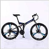 XER Mountain Bike Folding Rahmen MTB Bike Doppelaufhebung Mens-Fahrrad 27 Geschwindigkeiten 26 Zoll 3-High-Carbon Stahl Fahrradscheibenbremse,Blau,24 Speed