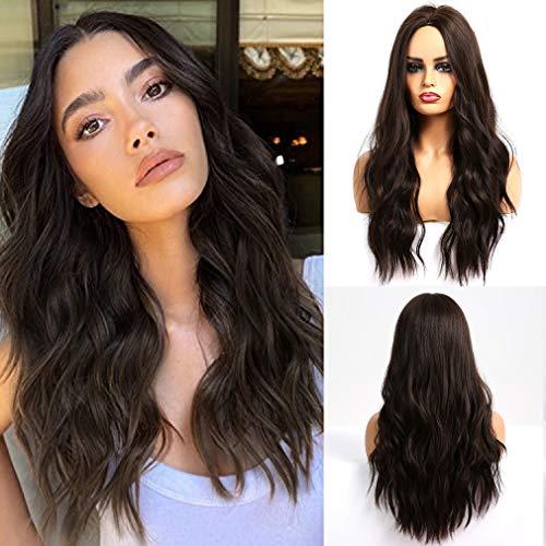 ATAYOU® Damen Seidig Wellig Schokolade Braun Hitzebeständige Synthetische Perücke Haarersatzperücke für Frauen Natural Hairline Daily Wear Perücke