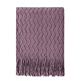 BOURINA Throw Blanket Textured Solid Soft Sofa Couch Decorative Knitted Blanket, 50' x 60' Dark Lavender