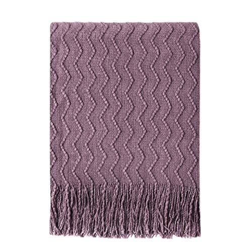 Bourina Throw Blanket Textured Solid Soft Sofa Couch Decorative Knitted Blanket, 50' x 60',Dark Lavender