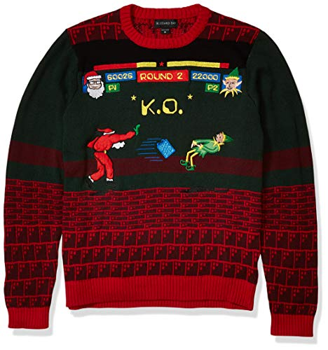 Blizzard Bay Men's Santa Street Fighter Ugly Christmas Sweater, Red/Green, X-Large