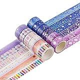 Cintas Washi de cielo estrellado,12 rollos de cinta adhesiva Washi para manualidades,juego de cintas adhesivas para álbumes de recortes,cinta adhesiva decorativa de colección decorativa de papel