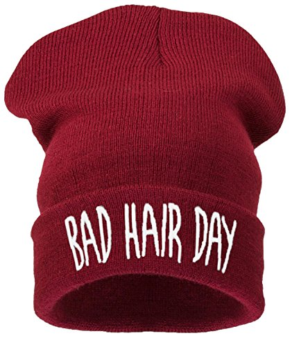 4sold Beanie Mütze Hat Mütze Bad Hair Day Fuckin Problems Comme des Fuckdown.Hit Neu 200 Models (bhd dunkel rot - weiß)