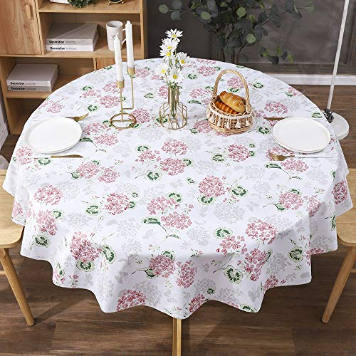 Vinyl Round Tablecloth - Flannel Backed - Waterproof Wipeable Table Cloths Table Cover for Kitchen Dining Indoor and Outdoor (Pink Flowers, 60' Round)