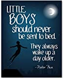peter pan artwork - Little Boys Should Never Be Sent To Bed - 11x14 Unframed Art Print - Great Gift and Decor for Nursery, Children's Room and JM Barrie and Peter Pan Fans Under $15