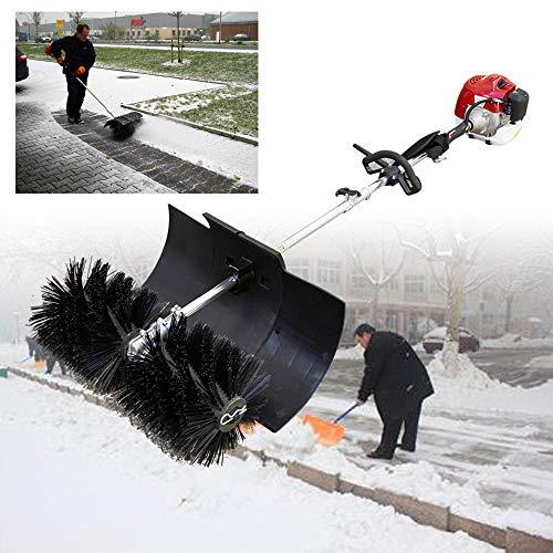 TFCFL 2 Stroke 52cc Gas Power Sweeper Hand Held Broom Cleaning Driveway Turf Grass Walk Behind Hand Held Cleaning Machine Brushes for Cleaning Snow Driveway Grass Lawn Garden