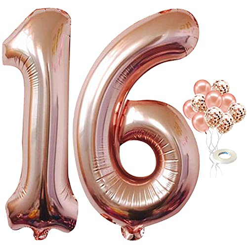 16 Rose Gold Number Balloons - Large, 40 Inch Foil 16 Balloons Rose Gold | 5 Confetti and 5 latex Balloons | Rose Gold 16 Balloons for Party Supplies | 16 rose gold balloon for Bday or Anniversary