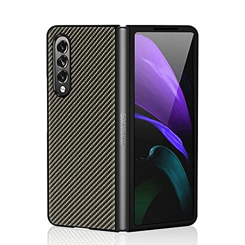 Estuches a Prueba de Golpes para PC híbridos de Cuero PU con patrón de Fibra de Carbono para Samsung Galaxy Z Fold 3 5G, Estuche Plegable antirrayas ultradelgado para Samsung Galaxy Z Fold3 5G 2021