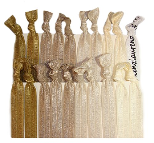 Kenz Laurenz Hair Ties No Crease Ribbon Elastics Ouchless Ponytail Holders Hair Bands 20 Blonde...