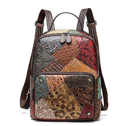 Ys-s Personalizzazione del Negozio Zaino in Pelle da Donna Sacchetti Scaff per Ragazze Viaggi/Zaini per Laptop per Donna Zaino Patchwork Bagpacks (Color : Color, Size : 24 * 32 * 10.5cm)