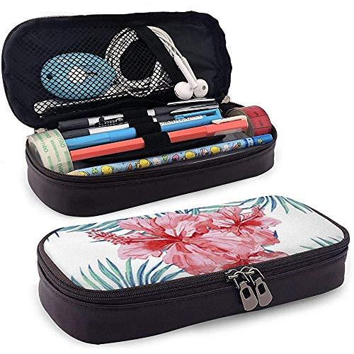 Tropische Zierpflanzen Federmäppchen Leder große Kapazität Bleistiftbeutel Make-up Stift Tasche langlebig mit doppeltem Reißverschluss Stifthalter