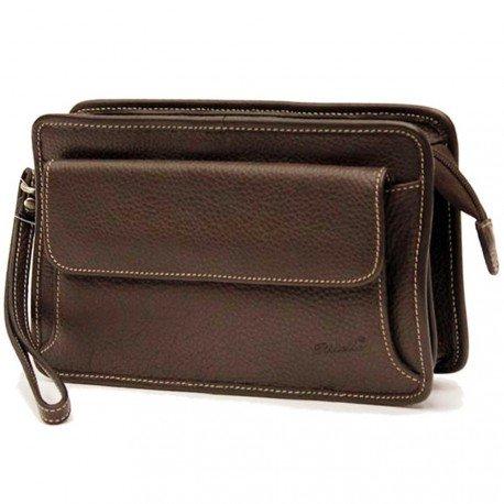 Charmoni–Vuoto tasca borsa a foglio 2soffietti Uomo in Vera Pelle di vacchetta nove Bob, Marrone (marrone), Taille Unique