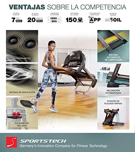 Sportstech F37 Cinta de Correr Profesional -Marca Alemana de Calidad- Video Eventos y App multijugador, 7hp a 20 km/h+Sistema lubricación, Plegable, TÜV/GS, Pulsómetro Incl, Altavoces, hasta 150kg