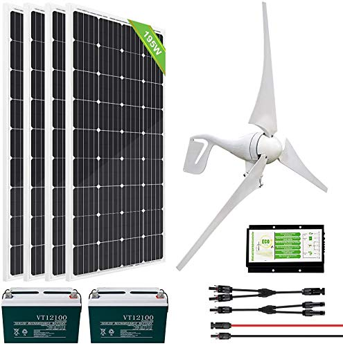 ECO-WORTHY 1200 Watts 24 Volt Solar Wind Turbine Generator Kit: 400 Watt Wind Turbine+ 4pcs 195W Mono Solar Panels+ 1pc Solar Wind Hybrid Controller+ 2pcs 100AH Battery