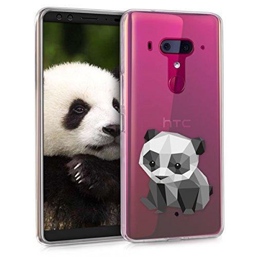 kwmobile Case kompatibel mit HTC U12+ / U12 Plus - Hülle Handy - Handyhülle - Panda Baby Geometric Schwarz Weiß Transparent