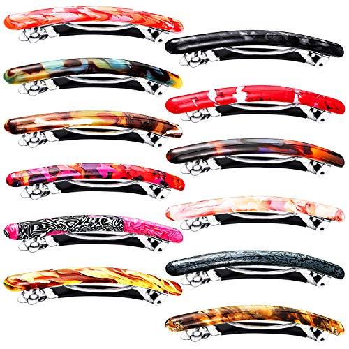 12 Stück schmale Haarspangen, Schildkröte, Zellulose-Acetat, Haarspangen, lange und dünne französische Haarspange, automatische Schließe, Haarspange,...