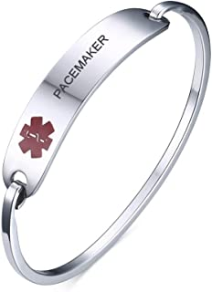 VNOX Free Engraving-Stainless Steel Medical Alert ID Bangle Bracelet,Gold Plated/Silver,7.4