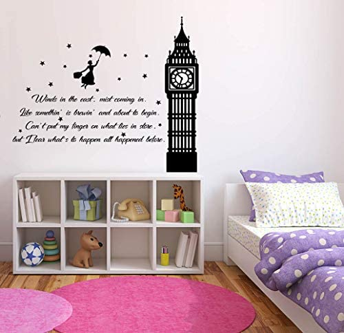 Mary Poppins Disney Wall Decal Saying Motivational Quotes Children Wall Decals Bedroom Kids product image