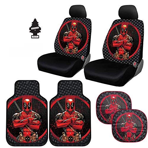 Yupbizauto Marvel Comic Deadpool Car Seat Covers Floor Mats and Spring Sunshades Set with Air Freshener