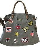 fashion&DU PATCHES STERN Handtasche Schultertasche bag Umhängetasche Tragetasche US star groß (Grau)