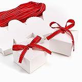 CLE DE TOUS - Set de 50 Cajas para dulces bombones Cajitas de boda regalo Caja de cuadro Romántico con cinta rojo Cube Favour Boxes