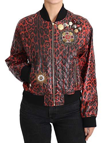 Chaqueta de cuero con botón de leopardo rojo