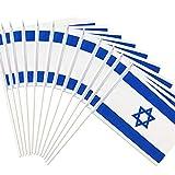 Anley Israelische 5x8 Zoll Handgehaltene Mini-Flagge mit 12' weißem, festem Mast - Israel Stick Flagge, lebendige Farbe und lichtecht - 5 x 8 Zoll Handgehaltene Stickfahnen mit Speerspitze