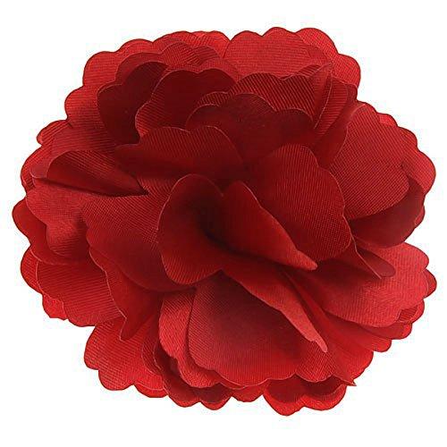 2-en-1 hermosa flor de peonía satinada estilo mujeres niñas pinza de pelo broche de horquilla (rojo)