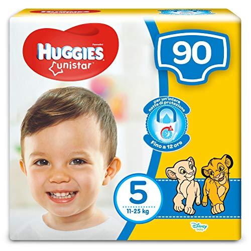 HUGGIES Unistar Pentabox, Taglia 5 (11-25 kg), 5 Confezioni da 18 (90 Pannolini)