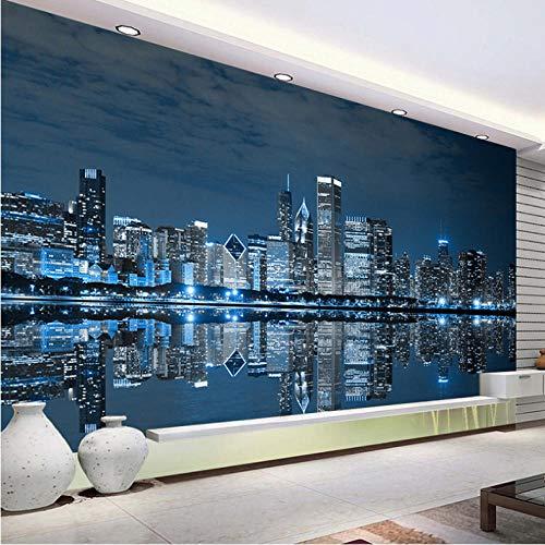 Wuyii fotobehang zwart en wit New York nachtzicht stad gebouw studie woonkamer sofa tv-achtergrond 3D fotobehang 280 x 200 cm.
