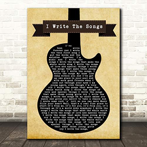 Ik schrijf de liedjes zwarte gitaar lied lyrische citaat muziek Gift Wall Art Poster Print Small A5