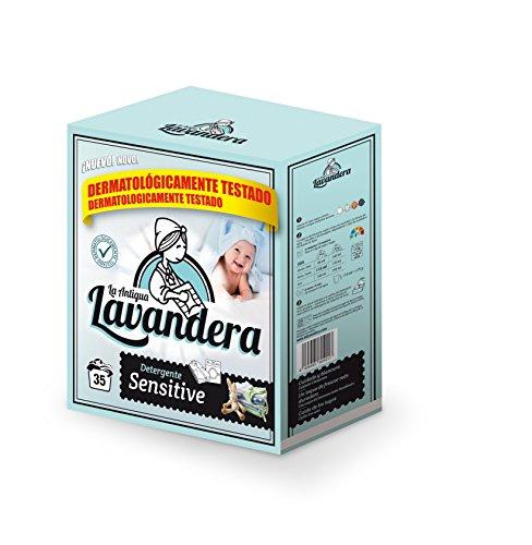 La Antigua Lavandera Detergente Sensitivo en Polvo, 35 Lavados - 4 Paquetes de 2600 gr - Total: 10400 gr
