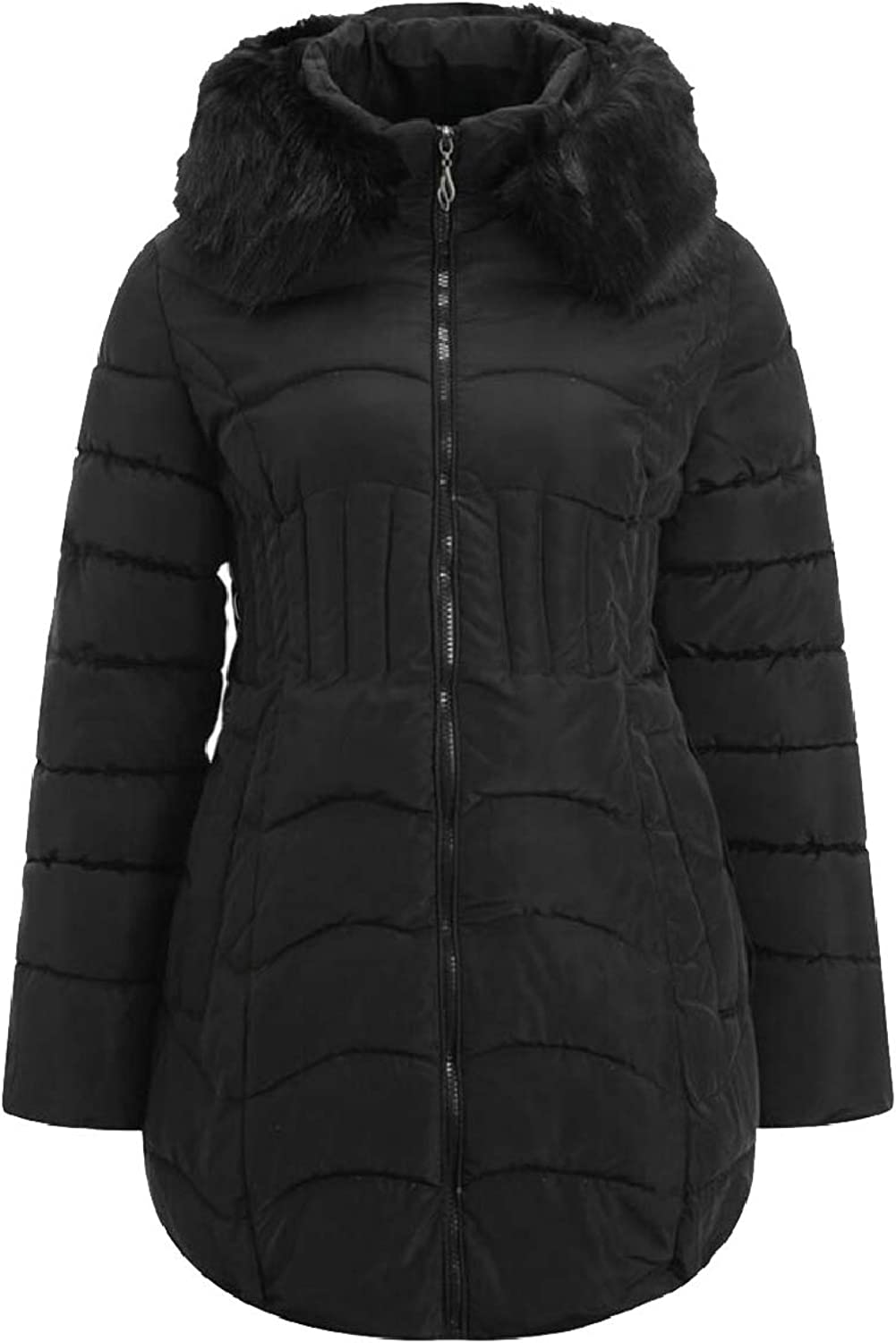 PujinggeCA Women's Thicken Quilted Winter FauxFur Collar Zipper Down Jacket Coat